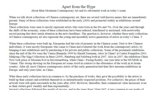 A.Grimmer interview with the Director of Blue Mountain Contemporary Art (BMCA), Gedaliah Afterman, exploring it's significance as an art collection and platform for understanding 21st century Chinese art; proofread and copyedited by CJ Rama Dahya. BMCA Publication.